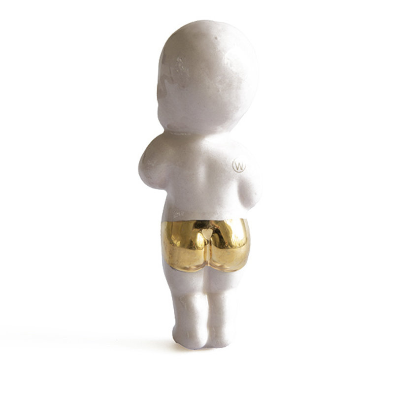 Atelier W.-collectie Ceramic figurine Sweet little baby with gold softpink height 11cm