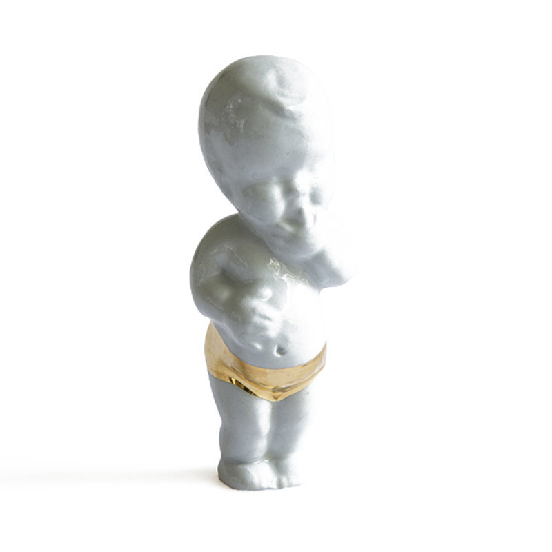Atelier W.-collectie Ceramic figurine Sweet little baby with gold lightblue height 11cm