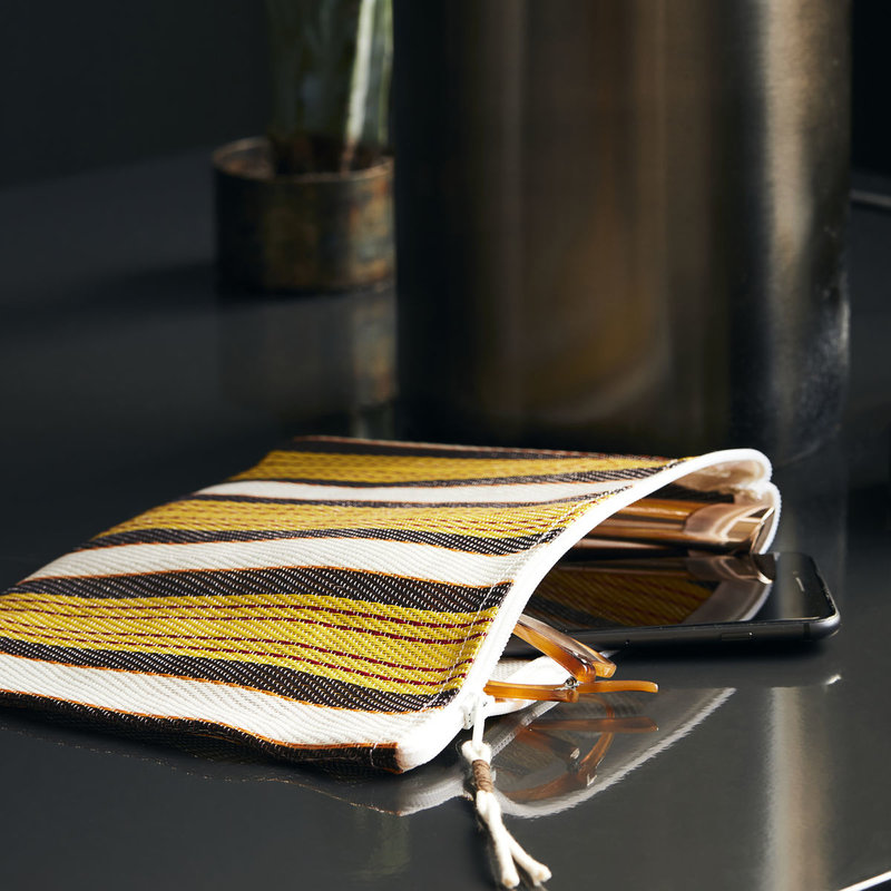 House Doctor-collectie House Doctor  Pouch Recy Yellow/Brown Colour may vary l: 27 cm w: 20 cm