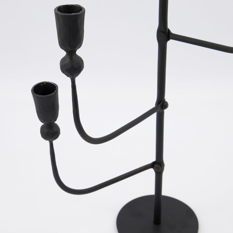 House Doctor-collectie House Doctor  Candle stand w. 5 cups Ira Black (candle/dia: 23cm) Handmade