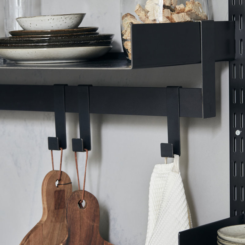 House Doctor-collectie House Doctor  Shelving system Fari Black Rail w. 5 hooks