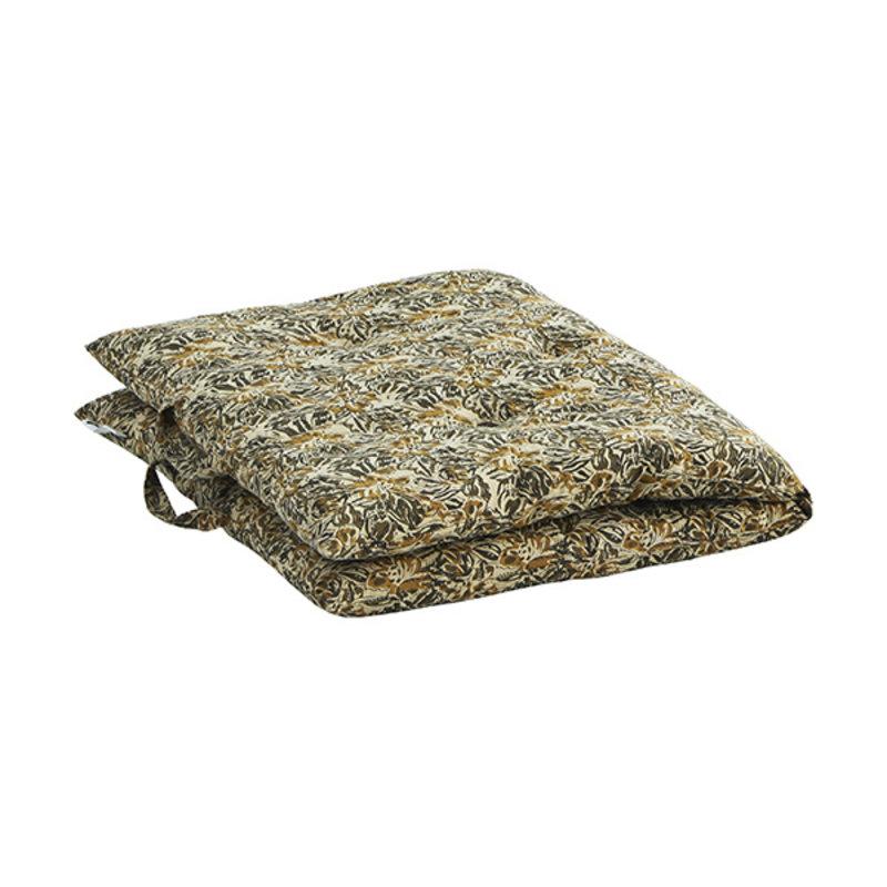 Madam Stoltz-collectie Printed cotton mattress Sand, mustard, olive, black  60x100 cm