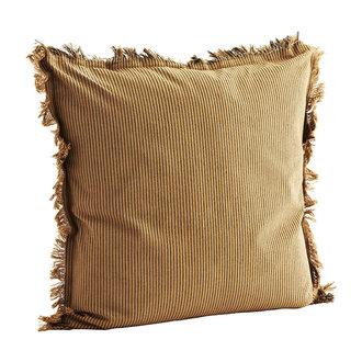 Madam Stoltz Woven cushion cover w/ fringes