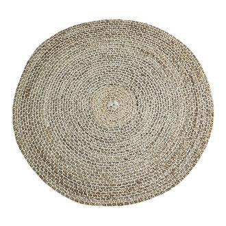 Madam Stoltz Round hand stitched jute rug