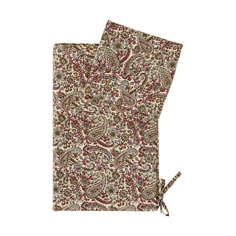 Madam Stoltz-collectie Dekbedovertrek met print nude raspberry, grijs, olijf, zwart