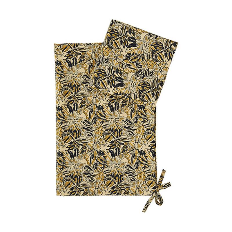 Madam Stoltz-collectie Dekbedovertrek met print zand, mosterd, zwart, grijs