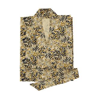 Madam Stoltz Kimono met print zand, mosterd, zwart grijs