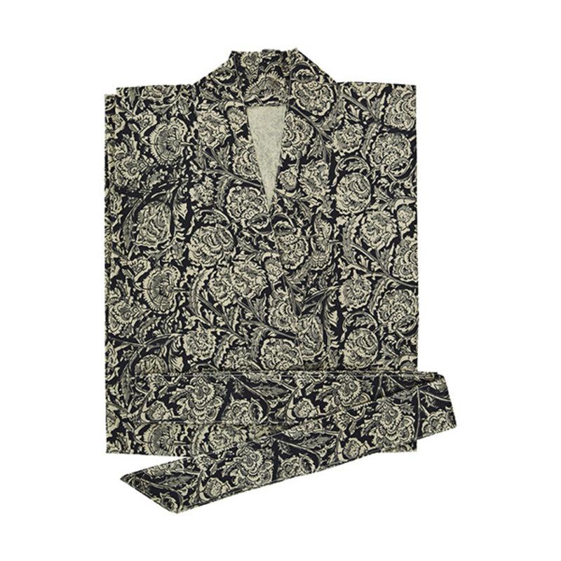 Madam Stoltz-collectie Kimono met print zwart, grijs, beige