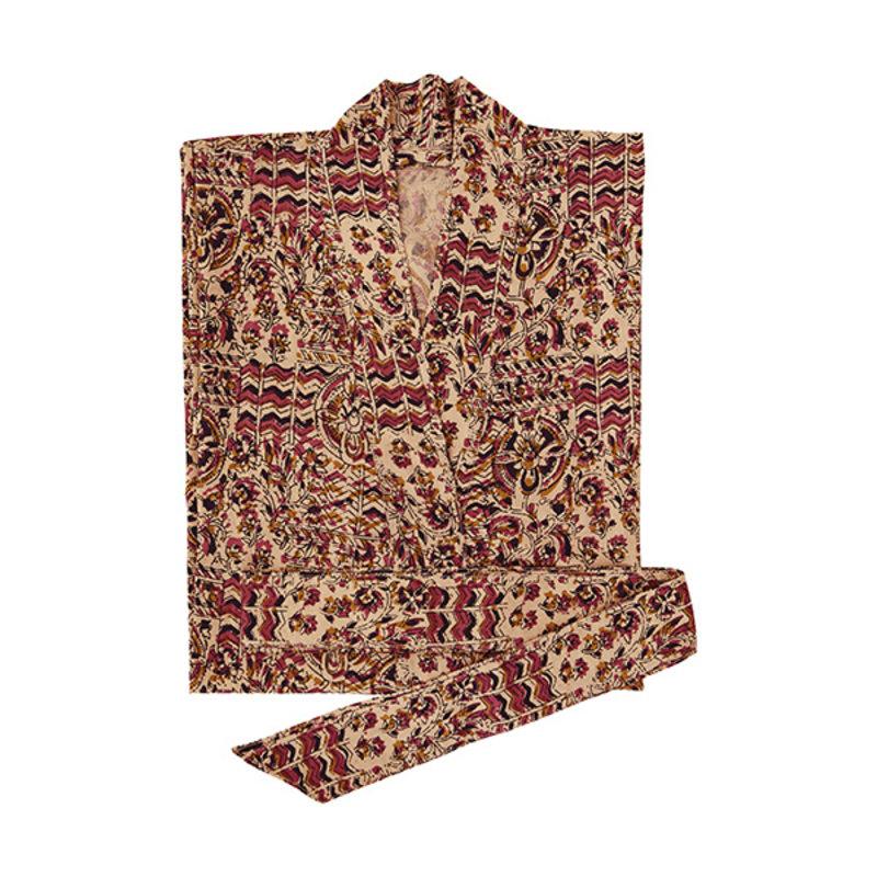 Madam Stoltz-collectie Kimono met print nude, zwart raspberry, mosterd