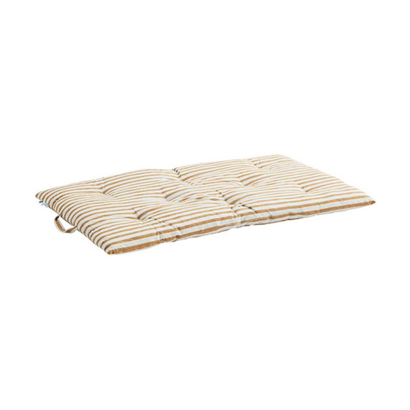 Madam Stoltz-collectie Striped woven mattress Off white, dark honey 60x100 cm