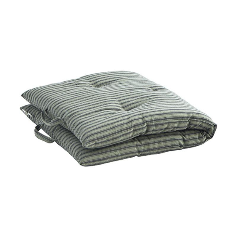 Madam Stoltz-collectie Striped woven mattress Moss green, charcoal 60x100 cm