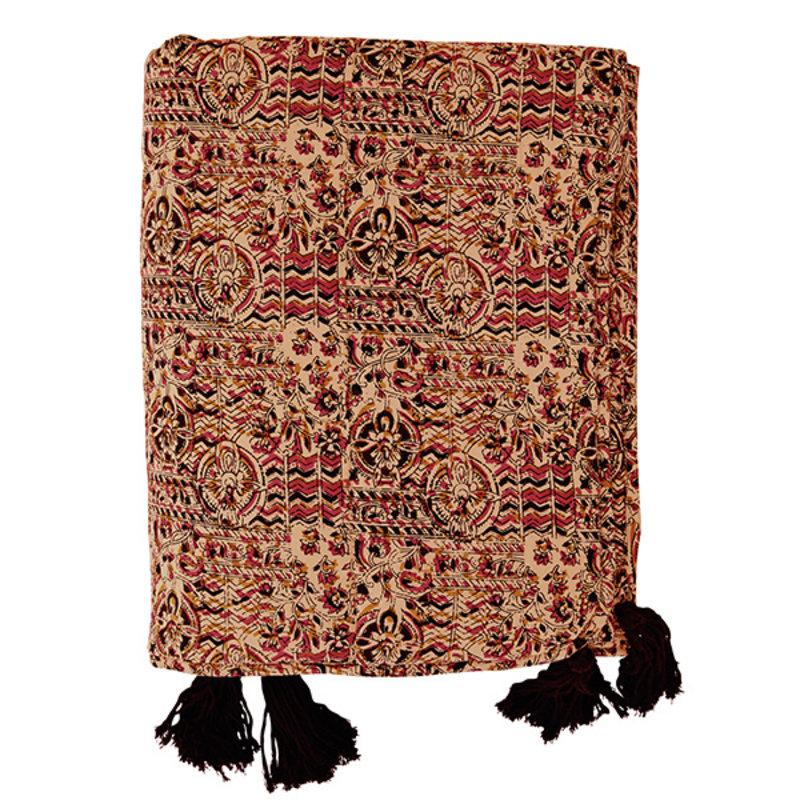 Madam Stoltz-collectie Printed cotton plaid w/ tassels