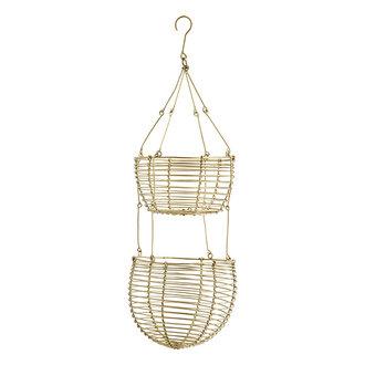 Madam Stoltz Hanging wire baskets Ant.brass D:12/14x38 cm