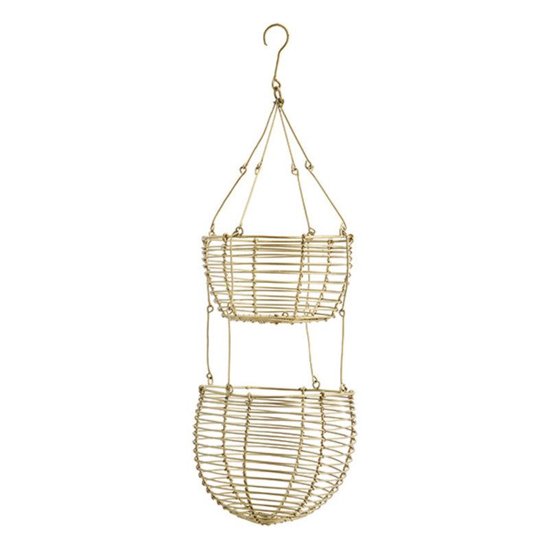 Madam Stoltz-collectie Hanging wire baskets Ant.brass D:12/14x38 cm