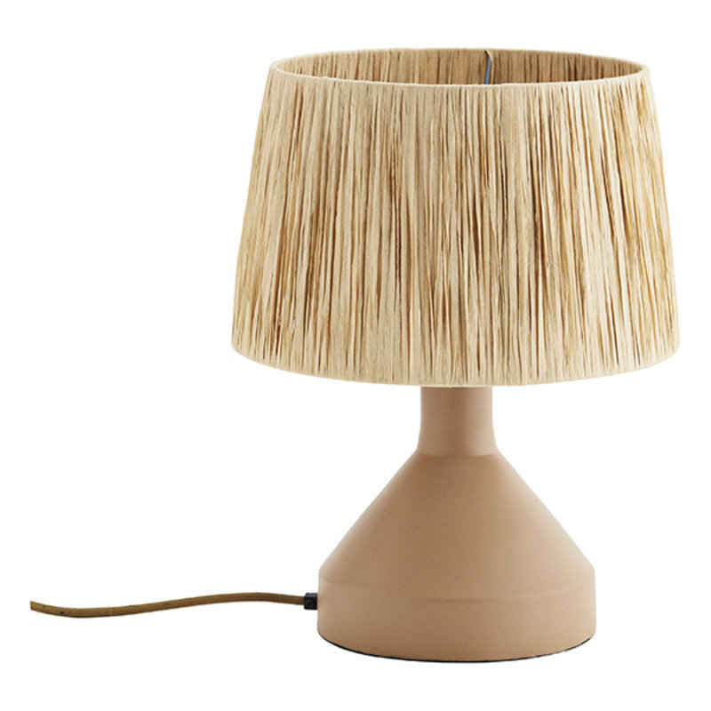 Madam Stoltz-collectie Iron table lamp w/ raffia shade Beige, natural D:30x39 cm