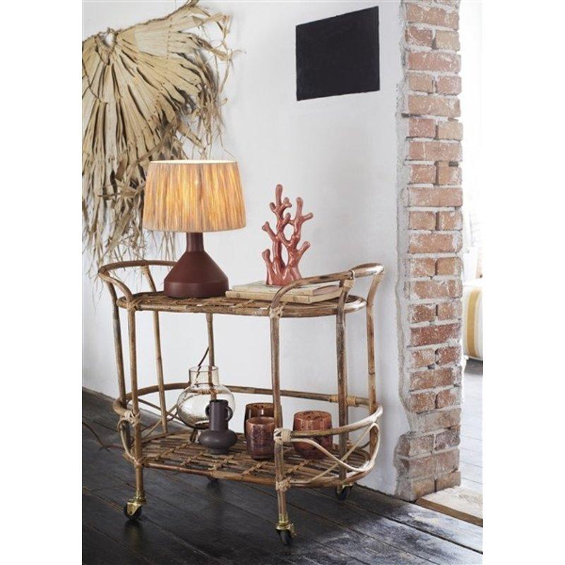 Madam Stoltz-collectie Iron table lamp w/ raffia shade Brick, natural D:30x39 cm