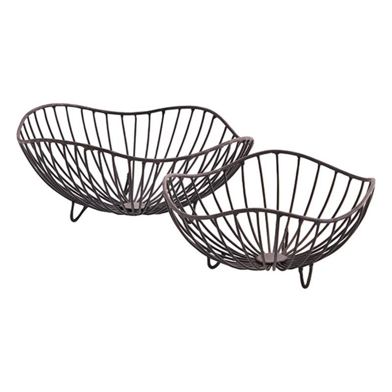 Madam Stoltz-collectie Organic shaped iron baskets Ant.brown D:20x9/25x10 cm