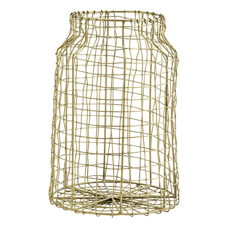 Madam Stoltz-collectie Iron wire basket Ant.brass D.21x30 cm
