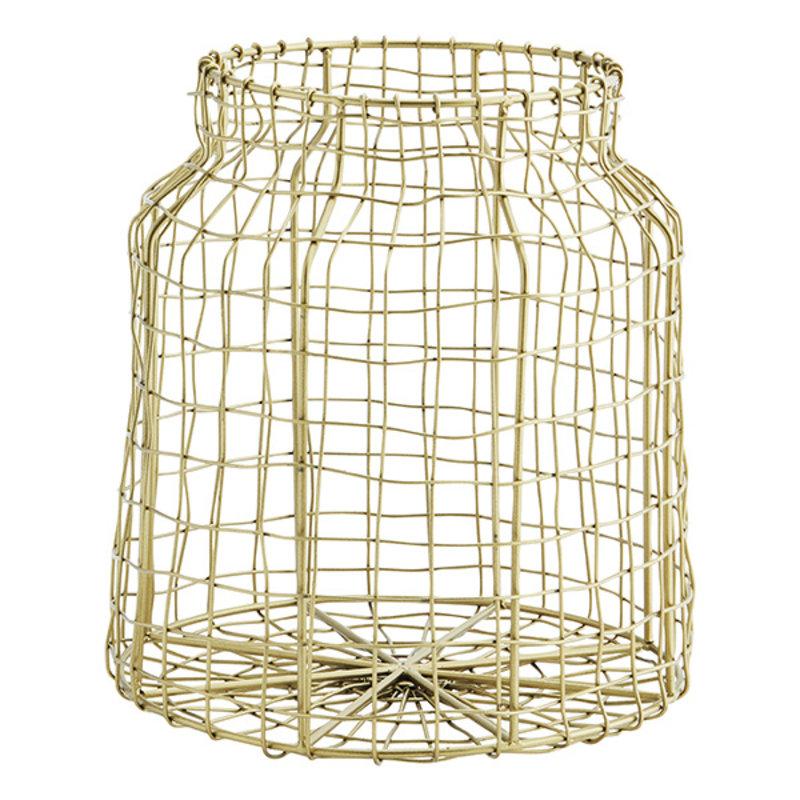 Madam Stoltz-collectie Iron wire basket Ant.brass D:21x23 cm