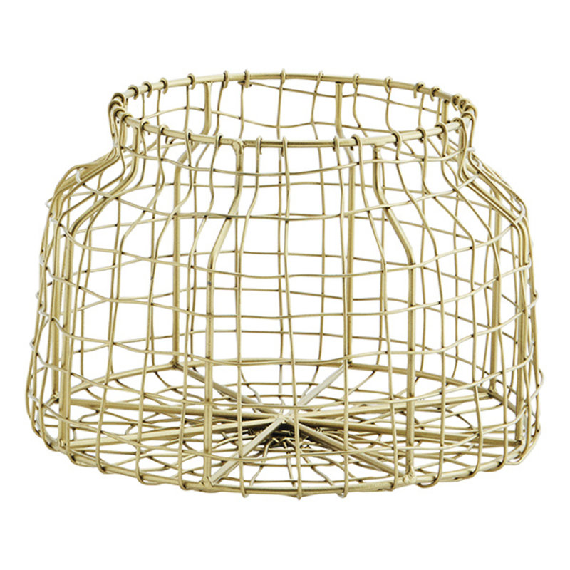 Madam Stoltz-collectie Iron wire basket Ant.brass D:21x14 cm
