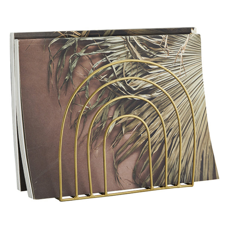 Madam Stoltz-collectie Iron magazine rack Ant.brass 20x10x18 cm
