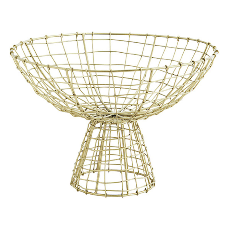 Madam Stoltz-collectie Iron basket w/ stand Ant.brass D:31x21 cm