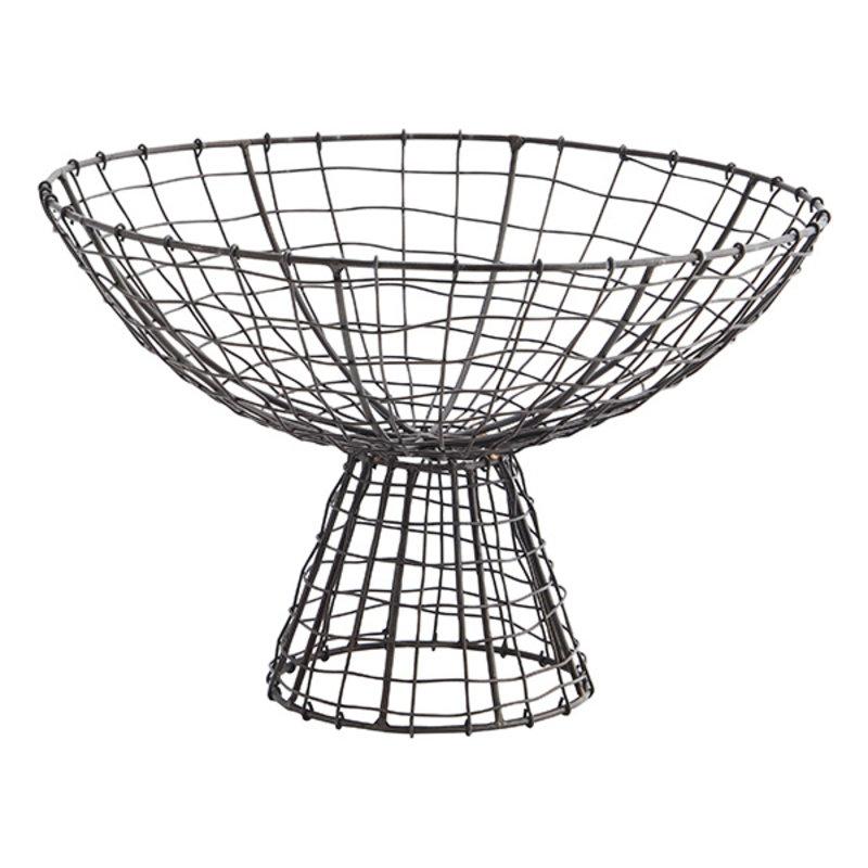 Madam Stoltz-collectie Iron basket w/ stand Ant.brown D:31x21 cm