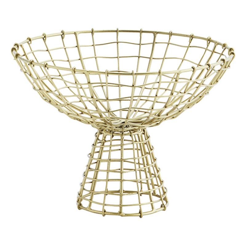 Madam Stoltz-collectie Iron basket w/ stand Ant.brass D:20x14 cm