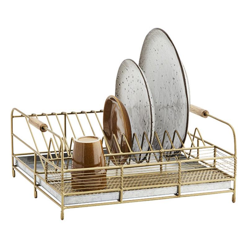 Madam Stoltz-collectie Iron dish rack Ant.brass, iron natural 36x37x16 cm