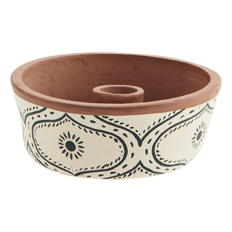 Madam Stoltz-collectie Handpainted clay candle holder Off white, anthracite, natural D:15x6 cm