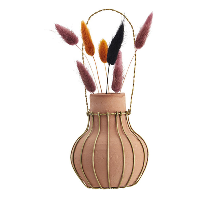 Madam Stoltz-collectie Hanging clay vase Natural, ant.brass D:9x10 cm