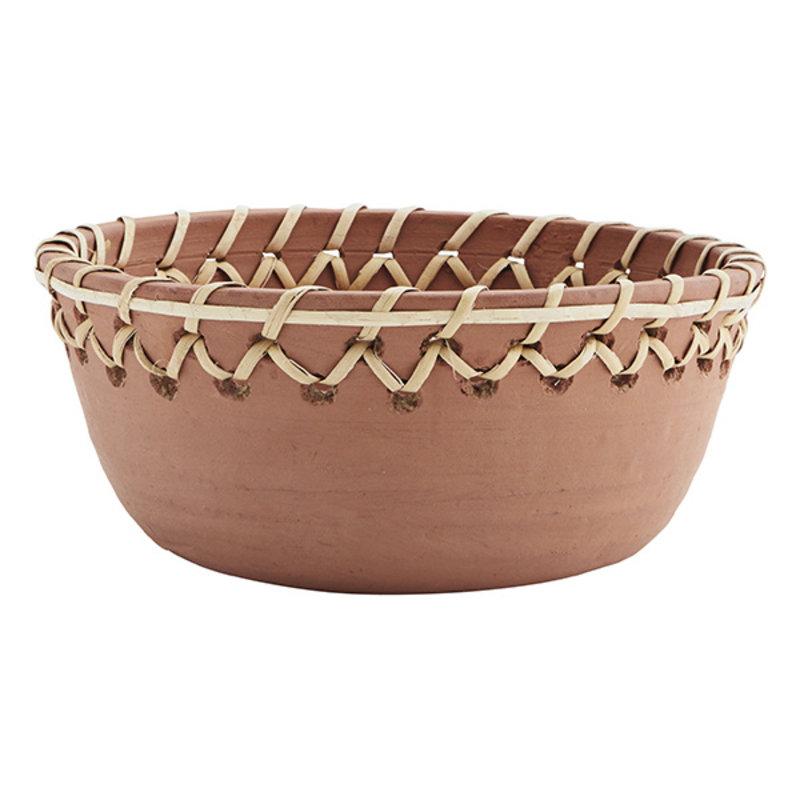 Madam Stoltz-collectie Clay bowl w/ cane Natural D:28x12 cm