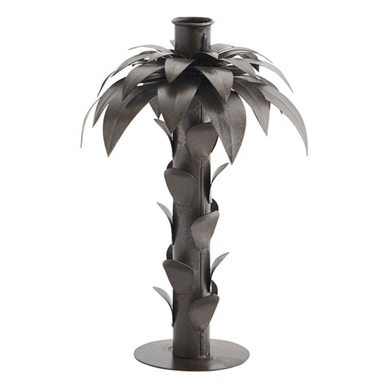Madam Stoltz-collectie Iron palm candle holder Ant.brown D:16x21,5 cm