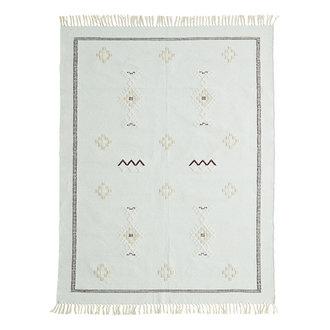 Madam Stoltz Katoenen vloerkleed mint met handgeweven print