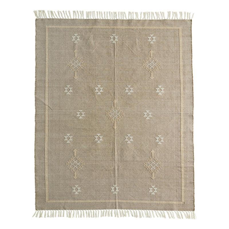 Madam Stoltz-collectie Katoenen vloerkleed bruingrijs met handgeweven print
