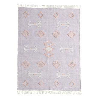 Madam Stoltz Katoenen vloerkleed lila met handgeweven print
