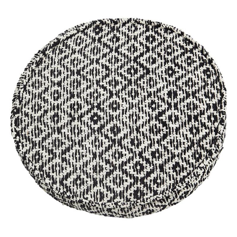 Madam Stoltz-collectie Woven chair pad Off white, black D:42x5 cm