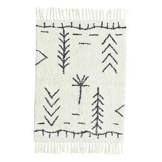 Madam Stoltz Tufted cotton bath mat Ivory, dark grey 60x90 cm