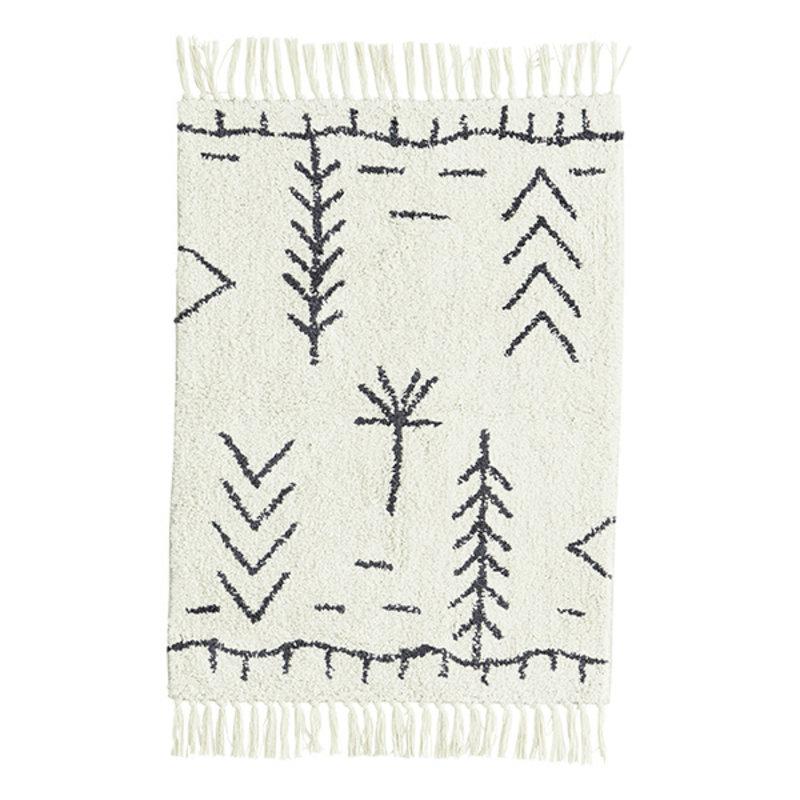 Madam Stoltz-collectie Tufted cotton bath mat Ivory, dark grey 60x90 cm