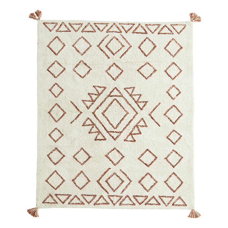 Madam Stoltz-collectie Tufted cotton rug w/ tassels Ivory, orange, black 140x200 cm