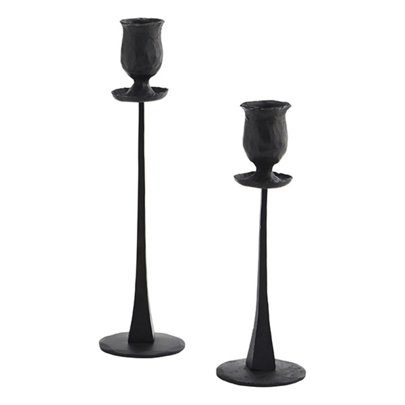 Madam Stoltz-collectie Hand forged candle holders Black H:20/25 cm