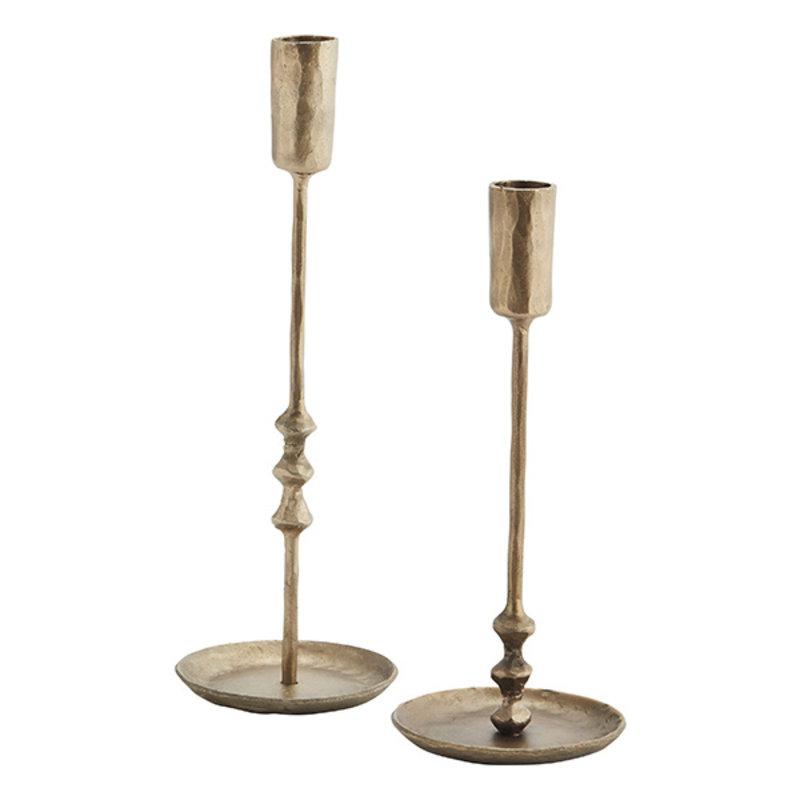 Madam Stoltz-collectie Kandelaar goud - set v.2 - handgehamerd