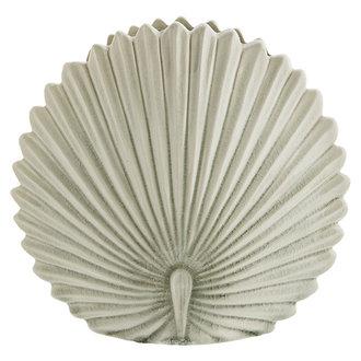 Madam Stoltz Stoneware leaf vase Off white D:25x8,5 cm