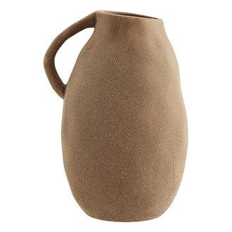 Madam Stoltz Stoneware vase w/ handle Sandstone D:15x24,5 cm
