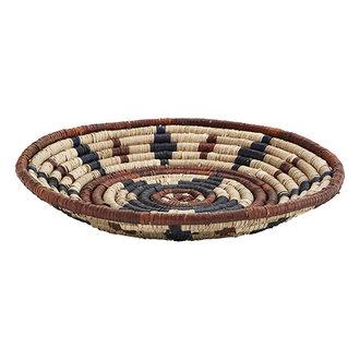 Madam Stoltz Seagrass tray Natural, black, brown D:45 cm