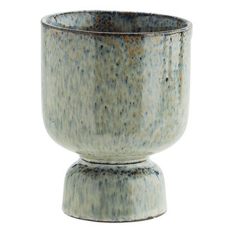 Madam Stoltz Stoneware flower pot Liquen, blue, rust D:10,5x13,5 cm