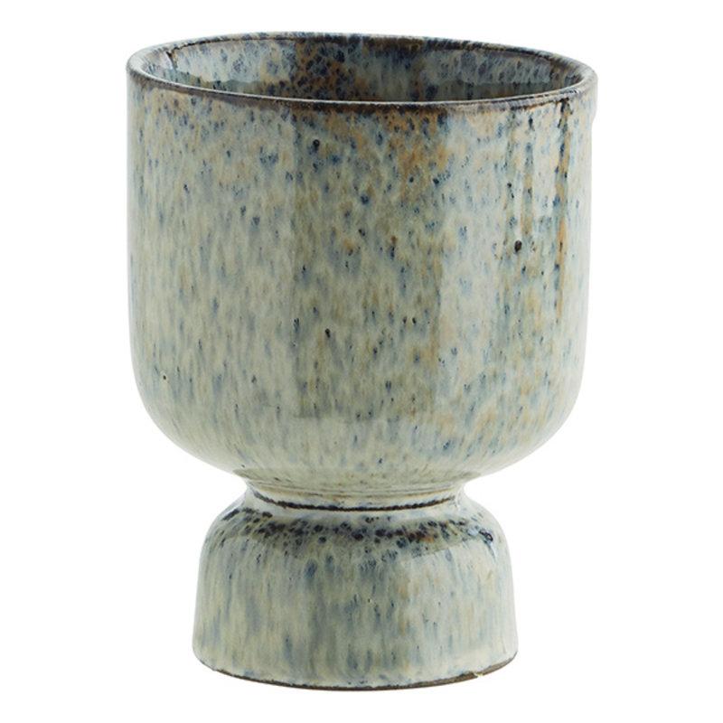 Madam Stoltz-collectie Bloempot mosgroen - blauw 13,5 cm