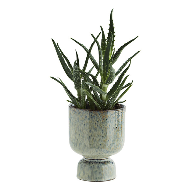 Madam Stoltz-collectie Stoneware flower pot Liquen, blue, rust D:10,5x13,5 cm
