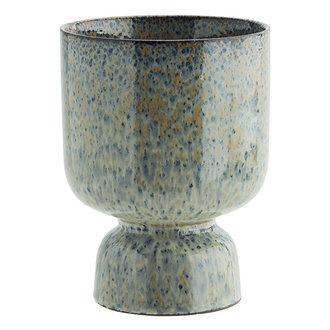 Madam Stoltz Stoneware flower pot Liquen, blue, rust D:14x17,5 cm