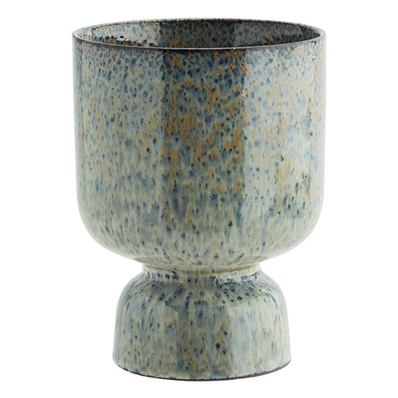 Madam Stoltz-collectie Stoneware flower pot Liquen, blue, rust D:14x17,5 cm
